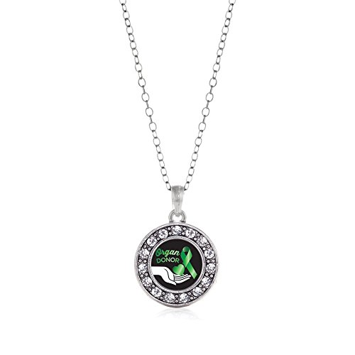 Inspired Silver Organ Donor Circle Charm Necklace Clear Crystal Rhinestones (Organ Donor Jewelry)