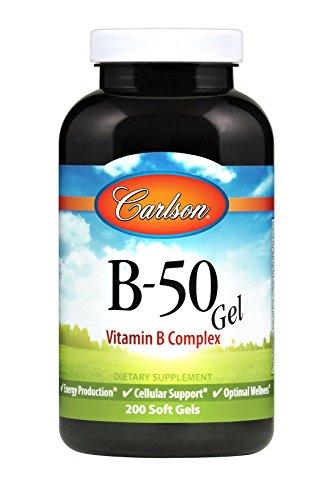 Carlson - B-50 Gels, Vitamin B Complex, Energy Production, Cellular Support & Optimal Wellness, 200 soft gels