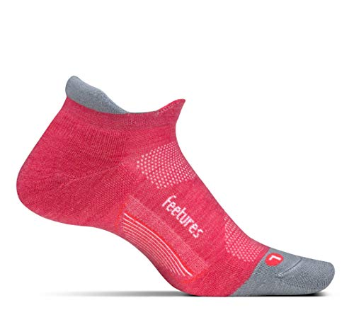 Feetures - Merino 10 Cushion - No Show Tab - Athletic Running Socks for Men and Women - Coral - Large