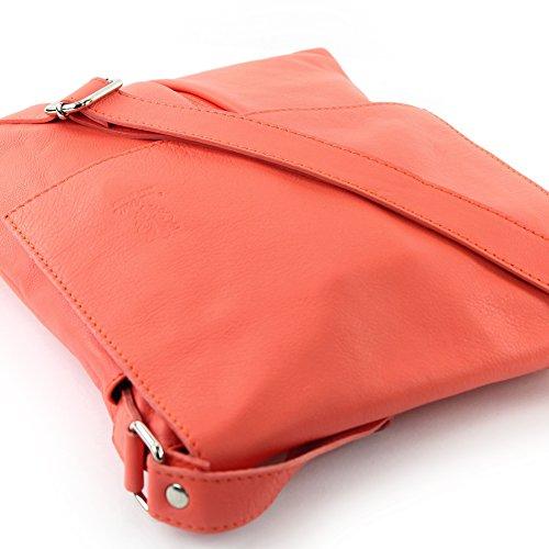 Lachsfarben Ital de señoras del del grande de de T75 las bolso modamoda hombro cuero mensajero bolso 5qxZyAF