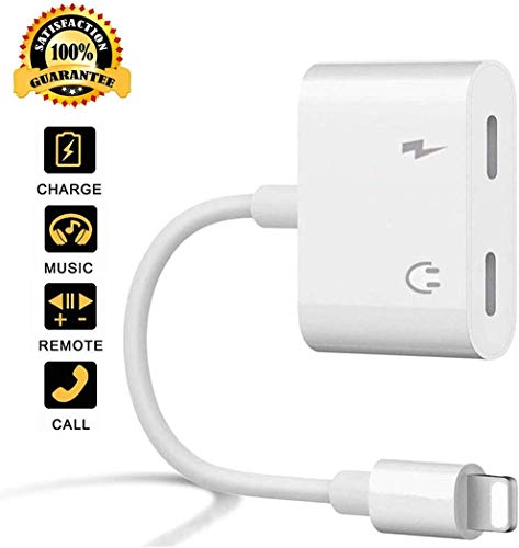 Headphones Adapter for iPhone 8 Aux Audio & Charger Headphone Splitter Adapter Compatibility with Phone 7/7+/6+/8/XS MAX/XR/X/max 4 in 1 Earphone ?Music & Charge? Jack Dongle Splitter Support iOS 12