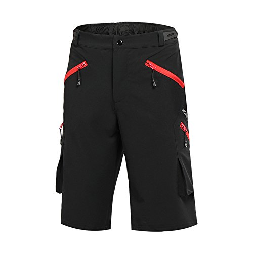 ARSUXEO Mens Outdoor Sports Loose Fit Cycling Shorts MTB Bike Shorts Pockets 1705 Black Size Large