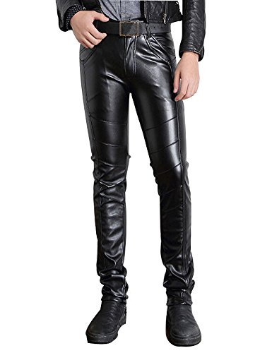 Moonwalk Men`s Faux PU Leather Skinny Black Biker Pants 34 (Skinny Leather Pants)