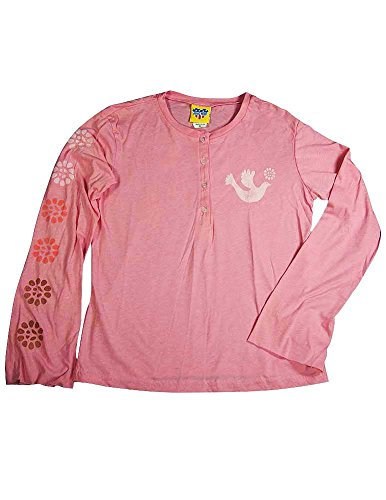 Junk Food Flower - Junk Food - Big Girls' Long Sleeve Henley Tee Shirt, Pink 11145-14