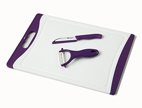 Chef Made Easy Large Plastic Cutting Board (Purple) with Drip Groove Includes Free Bonus Ceramic Peeler and 3″ Ceramic Paring Knife – Non-slip and Stain-resistant