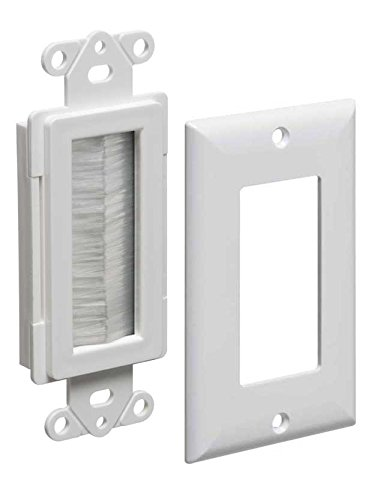 Arlington Industries CED135WP-1 Cable Entry Device with Brush-Style Opening and Wall Plate, 1-Gang, White, 1-Pack (Plate Wall Style)
