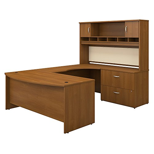 Bush Business Furniture Series C 72W Right Handed Bow Front U Shaped Desk with Hutch and Storage in Warm Oak