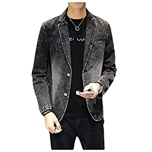 Men's Regular Fit 2 Button Notch Lapel Denim Blazer Coat Jacket