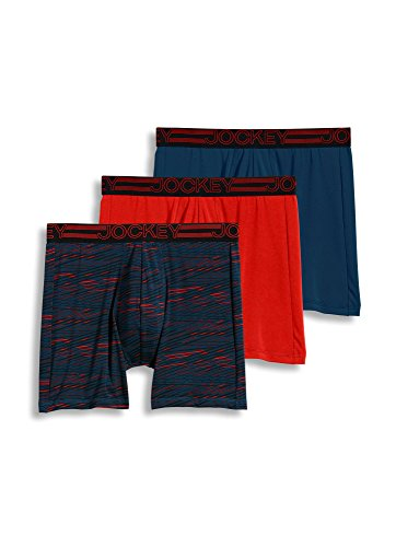 Jockey Men's Underwear Active Microfiber Midway Brief - 3 Pack, Dark Peacock/Peacock Red Criss Corss/Brillant Red, S - Male Peacock