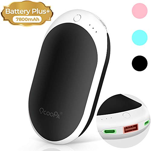 OCOOPA Hand Warmers, Rechargeable Hand Warmers 7800mAh Super Capacity Up to 12 Hours Warming,Electric,Reusable, Type-C/Micro Double Charging Gift Idea for Winter,Outdoor Sports, Raynauds ect. (Rechargeable Warmer)