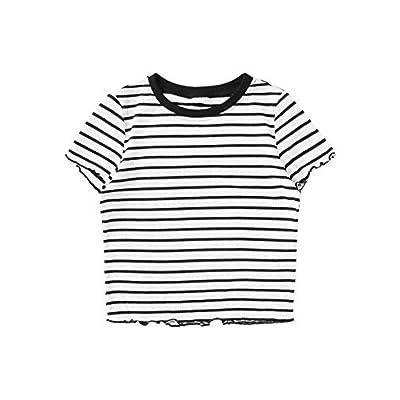 SweatyRocks Women's Short Sleeve Striped Crop T-Shirt Casual Tee Tops at Women's Clothing store