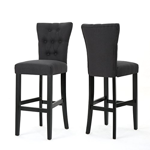 Padma Tufted Back Fabric Barstools (Set of 2) (Dark Charcoal)