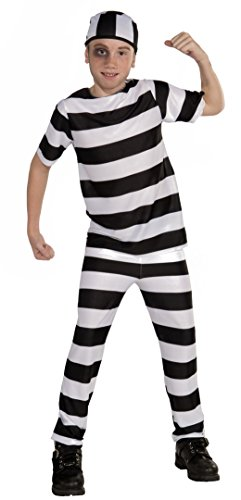 Forum Novelties Striped Convict Costume, Child Large