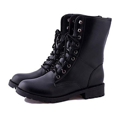 Black Gll amp;xuezi Leather Under PU Black Boots 1in Winter Combat Real Casual Comfort Boots Women's fPxrqBf