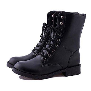 Gll Décontracté Noir Bottes Moins De Cuir 5 Femme Confort Black 2 Cm Hiver Vrai Polyuréthane Combat Boîtes amp;xuezi 17wPrc4q1