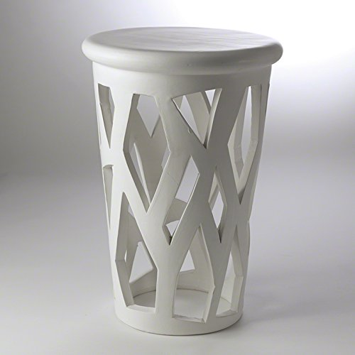 ic White Cage Accent Drum Table | Abstract Column Open Luxe (Cage Columns)