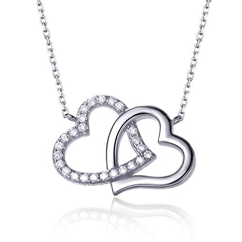 Fonsalette Heart Necklace with Swarovski Crystals Necklace Sterling Silver Heart Necklace for Women