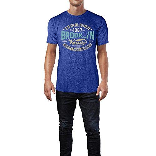 Sinus Art ® Herren T Shirt Brooklyn Sports ( Heather_Blue ) Crewneck Tee with Frontartwork