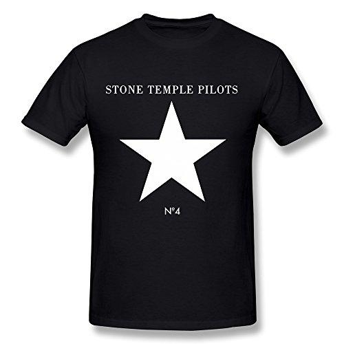 Fkyceun Men's Stone Temple Pilots Star T-shirt X-Large Black - Reunion White T-shirt