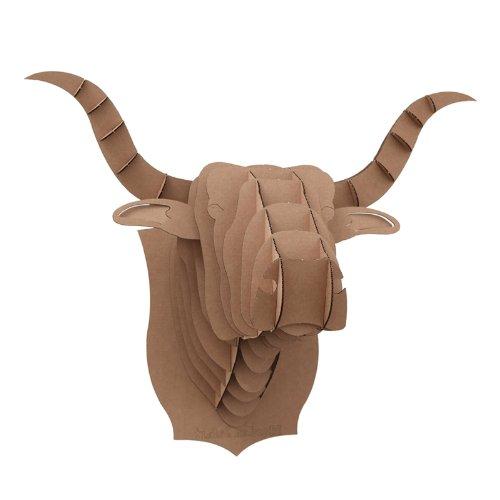 Cabeza de Vaca Marrón Rompecabezas en 3D Puzzle de Toro DIY de Papel Decoración para Fiesta para Oficina Habitación Pared