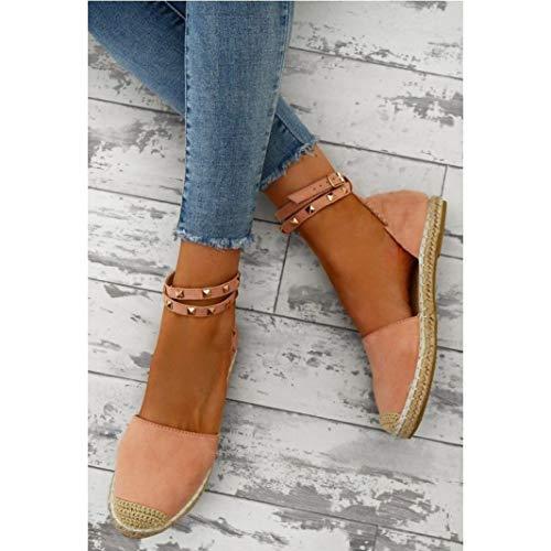 JOYBI Womens Fashion Platform Sandals Ankle Wrap Lace Up Comfy Slip On Casual Peep Toe Flat Espadrilles Shoes