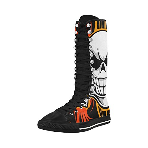 LEINTEREST skull Canvas Long Boots For Women jnRNbOMo