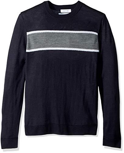 Calvin Klein Men's Merino Sweater Crew Neck, Combo Roman Blue, Large