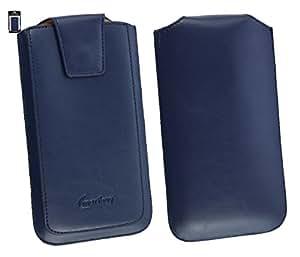 Emartbuy® Sleek Range Dark Azul Cuero PU de Lujo Funda Carcasa Case Tipo Bolsa ( Size 5XL ) con Cierre Magnético y Mecanismo de Pestaña para Estirar apto para Leagoo Elite 5 Smartphone