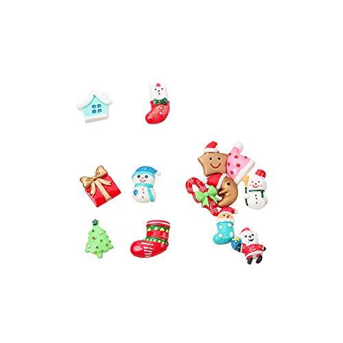 potato001 30Pcs Christmas Santa Snowman Tree Resin DIY Mini Craft Box Hairpin Phone Decor Mixed Style