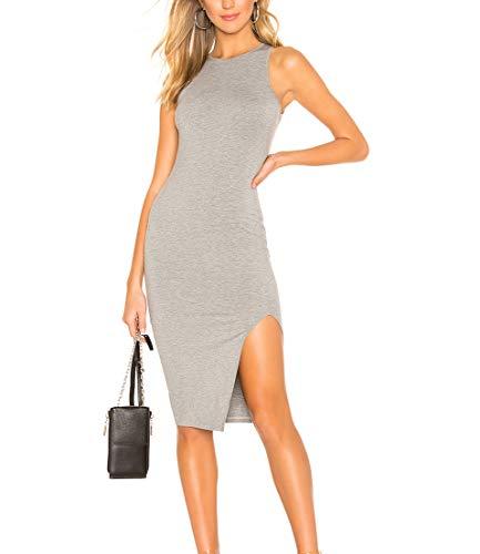cmz2005 Women Scoop Neck Sleeveless Dresses Causal Bodycon Tank Dress 71819 (S, Gray)