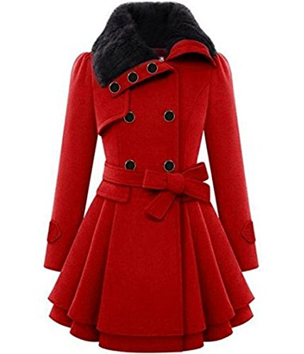 ST. Jubileens Women's Faux Fur Lapel Double-Breasted Thick Slim Wool Trench Coat Jacket Red XXL