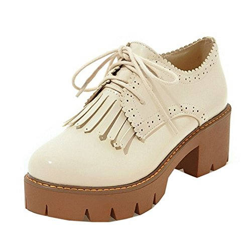 KemeKiss Beige Chunky Up Shoes Fashion Lace Women 6qTxwr4B6