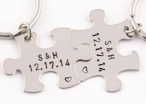 2 Piece Personalized Anniversary Date Puzzle Piece Keychain Set | Initials & Date