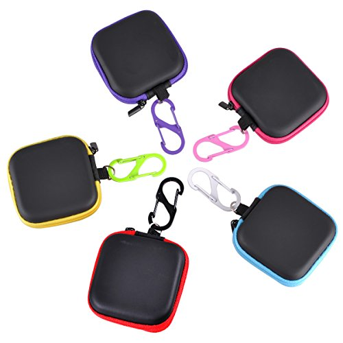 eZAKKA Earphone Carrying Case Headphone Cases Mini Square Hard EVA Pouch Storage Bags with Steel Carabiner for Earbuds Cellphone Headset USB Cables, 5 Colors-Pack