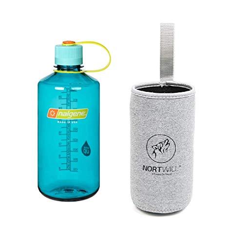 Nortwill Nalgene Water Bottle Set Tritan Narrow Mouth 32oz Water Bottle Bpa Free Travel Bottles Insulated Bottle Sleeve (Cerulean + Gray Sleeve) (Bottle Mouth Narrow)