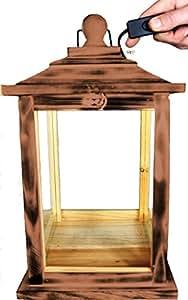 Casa KLG de ofos de color marrón oscuro madera Farol, con iluminación 220V, linterna de madera de madera en Amazon color marrón oscuro marrón madera
