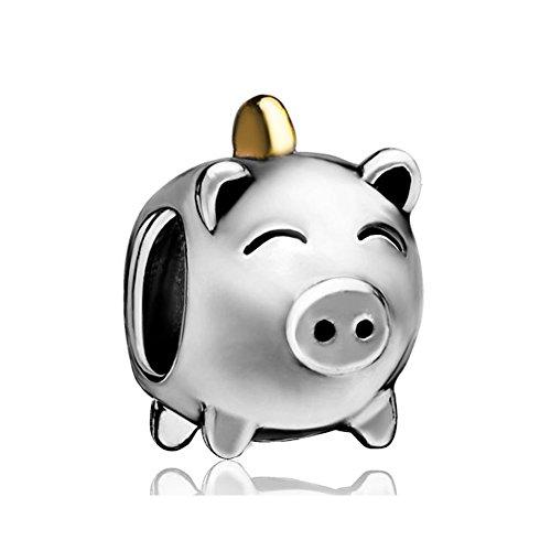 (LovelyJewelry Silver Plated Pig Money Box Bead)