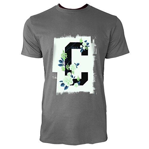 SINUS ART® Buchstabe C mit dekorativen Blumen Herren T-Shirts in Grau Charocoal Fun Shirt mit tollen Aufdruck