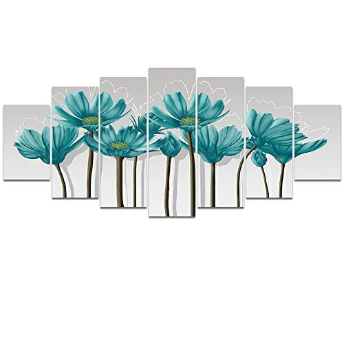 - Visual Art Decor XLarge Teal Grey Wall Art Decoration Floral Painting Calliopsis Flowers Picture Printed on Canvas Gallery Wrap Artwork for Home Living Room Office Decor (W-70 xH-32)