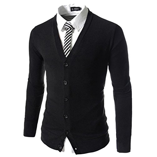 DUBUK Mens Knit Cardigan,Mens Lightweight Cardigans Slim Fit Knitwear V-Neck Front Button Versatile Kintted Cardigan Sweater (Black,M) (V-neck Men Sweaters Cardigans)