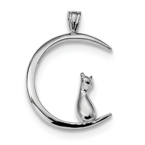 925 Sterling Silver Cat On Moon Pendant Charm Necklace Animal Cz Fine Jewelry Gifts For Women For Her