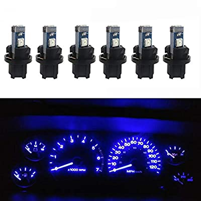 WLJH 6pcs Blue Canbus Error Free T5 37 2721 3030 Chips Instrument Panel Led Light Gauge Cluster Dash Indicator Bulbs with Twist Socket: Automotive