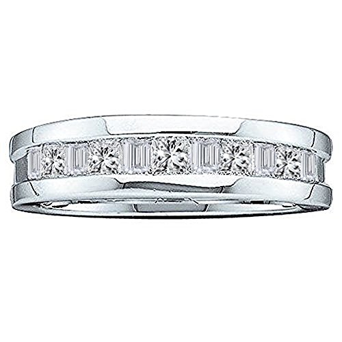 - Dazzlingrock Collection 0.55 Carat (ctw) 14K Baguette & Princess Cut Diamond Men's Wedding Band 1/2 CT, White Gold, Size 11