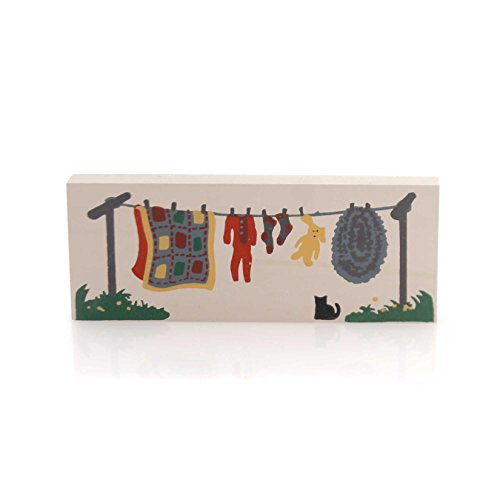 CATS MEOW VILLAGE CLOTHESLINE Wood Accessory Retired 1989 Wash 153