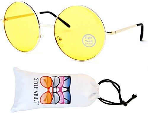 V129-vp Round Oversize Lens Metal Sunglasses (B3317F Gold-Yellow, - Sunglasses Urban