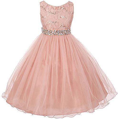 Sleeveless Sparkling Rhinestone Waistline Tea Length Girls Dress - Blush Size -