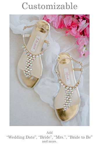 """Flat Wedding Shoes -""""Patent-Pending"""" personalization - Gold wedding sandal - Style Bella by Kate Whitcomb Shoes"""