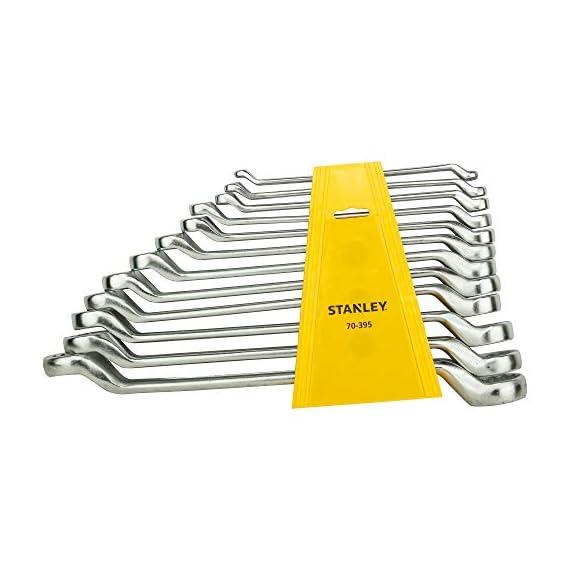 STANLEY 70-394E Matte Finish Shallow Offset BI HXRing Spanner Set (12-Pieces), Chrome 1