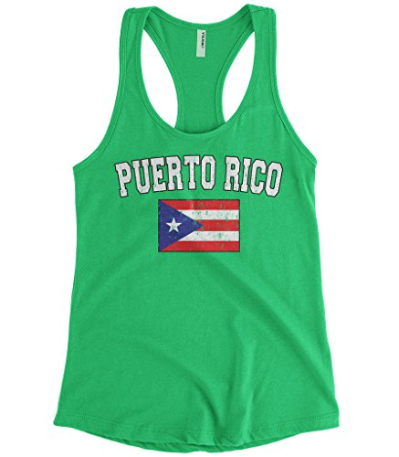 fan products of Cybertela Women's Faded Distressed Puerto Rico Flag Racerback Tank Top (Kelly Green, Small)