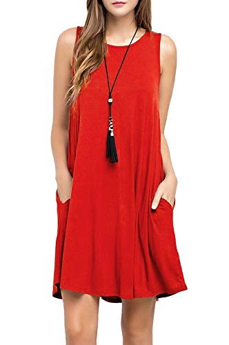 (CLANDY Sundresses for Women, Womens Sexy Round Neck Casual Loose Beach Flowy Tank A-line Maxi Dresses Red Size M)